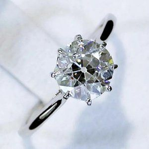 Ring Old Mine Cut 2 Carats Class Diamond Solitaire